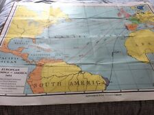 Rare VINTAGE A.J.NYSTROM School map .New beginnings 48x38 inches.