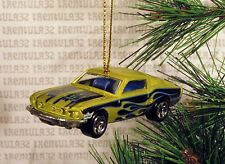 1968 FORD MUSTANG FASTBACK '68 CHRISTMAS ORNAMENT Green/Black w FLAMES XMAS