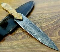"13"" Handmade Damascus Steel Combat Tactical Hunting Dagger Knife With Sheath"
