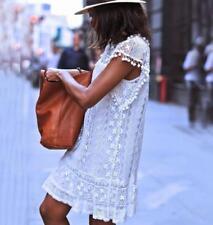 Womens vintage sleeveless dress white lace dress summer short mini Beach Dress