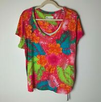 Palm Harbour Women's Top Size 1X Short Sleeves Ruched Tie Side Tropical Brights