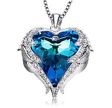 Swarovski fashion necklaces pendants ebay pendant necklace heart crystals blue jewelry wings love mom wife birthday gift aloadofball Gallery
