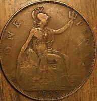 1922 UK GB GREAT BRITAIN ONE PENNY