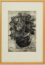 Radierung Cainelli Stillleben Blumen 1934 Sammlung Karl Schott 52 x 37 cm