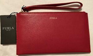 Furla Wristlet Saffiano Leather Envelope Clutch Pouch Wallet Red