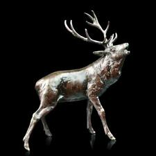 Stag Roaring Deer Solid Bronze Foundry Cast Sculpture by Michael Simpson [989]