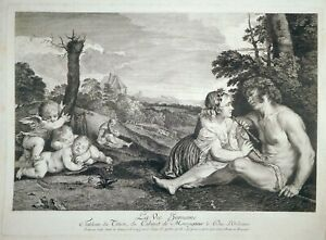Radierung, Die 3 Menschenalter, Tizian/ J.F. Ravenet, 1729, Crozat, Le Blanc 40