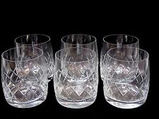 "6 VINTAGE BOHEMIAN CRYSTAL ""BOC9"" CUT GLASS OIL FASHIONED WHISKY TUMBLERS- BOXED"