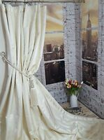 """NEW! Heavy Huge Ivory Ascot Fryets Stripes 113""""D 52""""W Cotton Lined Curtains"""