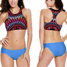 Neon Blue Aztec Print High Neck Razor Back Bikini Beach Swimsuit Swimwear S-2XL
