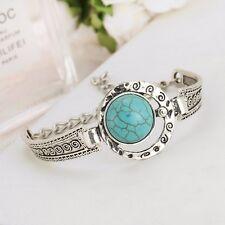 New Boho Tibetan Silver Turquoise Moon Sun Stars Charm Bracelet Bangle Jewellery