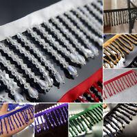 1M Acrylic Crystal Beaded Tassel Fringe Lace Trim Sew Costume Curtain Upholstery