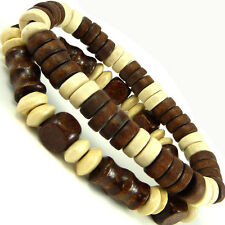 Cool funky wooden beaded friendship bracelet boy's black white surfer rasta WB11
