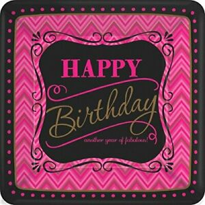 """Born to Be Fabulous Modern Pink Black Birthday Party 10"""" Square Banquet Plates"""