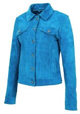 Womens Suede Trucker Jacket Teal Blue American Western Girls Denim Biker Style