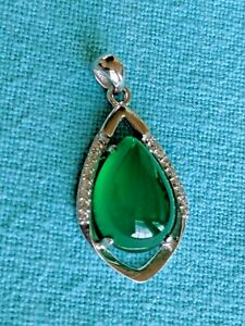 Green Chalcedony Lucky Tear Drop Pendant 925 Sterling Silver Cubic Zirconia