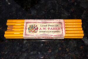 1920s Vintage AW FABER No 4 Pencils 12 RARE Brand Name Nuremberg Germany Antique