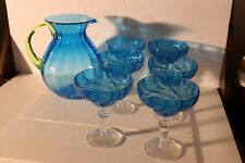 Blue Plastic Pitcher and 6 Margarita Glasses