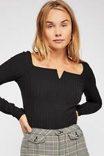 Free People Valencia After Party Ribbed Long Sleeve Top. Black. Medium