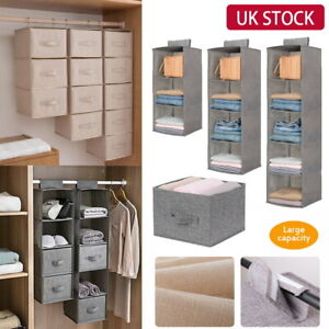 3/4/5 Pocket Wardrobe Hanging Shelf Storage Rack Organiser Clothes Hang Shelves