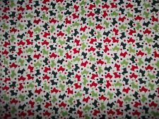 Handcrafted cotton crib sheet /White/Red?Green Scotty Dogs