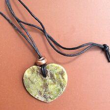 Connemara marble heart pendant on cord. Copper bead. Irish jewellery gift craft