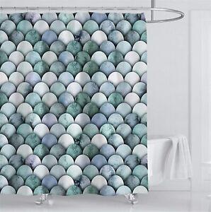 Mermaid Scale Ocean Theme Fabric Shower Curtain Sets Bathroom Decor with Hooks