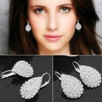 Women Charm 925 Silver Jewelry White Sapphire Wedding Dangle Water Drop Earrings