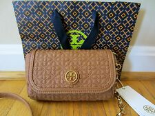 TORY BURCH Bryant Quilted Small Crossbody Luggage Brown Leather Bag Purse NWT