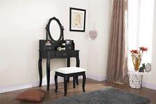 LUMBERTON DRESSING TABLE SET 3 DRAWERS MAKEUP DESK & PADDED SEAT STOOL BLACK
