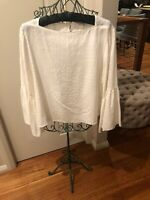 Veronika Maine White Frilled Sleeve Top  size 14