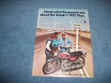 "1971 Suzuki T-500 Titan Vintage Motorcycle Ad ""Here's What The Experts Say."""