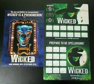 2011 & 2013 Wicked the Musical London promo mousemats & 2009 group flyer