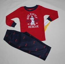 NEW~CARTERS  BOY 2 PIECE RED/NAVY FIRE RESCUE WINTER PAJAMAS SIZE 5T