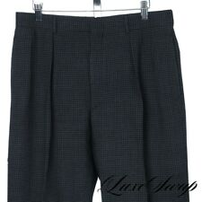 Polo Ralph Lauren Made in Italy Black Grey Houndstooth Wool Pants Trousers 33 NR