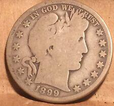 ^ 1899  O  BARBER HALF DOLLAR   ^^ GOOD ^^ (.900 SILVER) & (.100 COPPER) 1805