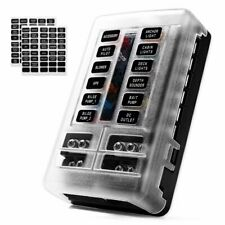 12 Circuit LED Luminated Blade Fuse Block Holder Box for Jeep Ford GMC Rzr Chevy