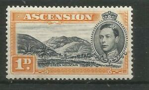 ASCENSION 1938 GEORGE VI  PERF 131/2  SG39A 1d BLACK & YELLOW MOUNTED MINT