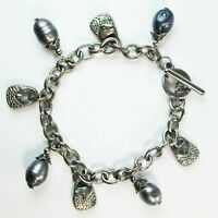 Silver Tone Purse Charm & Gray Abalone Mother of Pearl Bead Toggle Bracelet