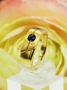 Schmuck massiver 750 Gelbgold -Saphir Design Ring zus ca 0,12 ct Top Design