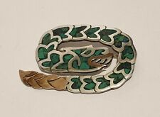 Vintage Mexican Large 925 Sterling Silver Inlaid Green Turquoise Snake Brooch