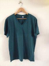 Men's Cotton Mix T Shirt By H&M Size L Green V Neck <R17087