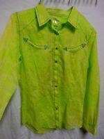 Rock 47 by Wrangler M Yellow/Green W/Purple & Blue Trim Western Rodeo Snap Shirt
