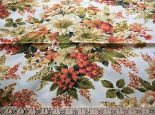 "Vintage House & Home  cotton floral & fruit print  drapery fabric-46"" by 48"""