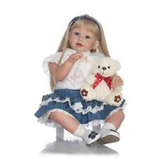 """Reborn Toddler Dolls 28"""" Soft silicone Vinyl Doll with Clothes Long Hair Dolls"""