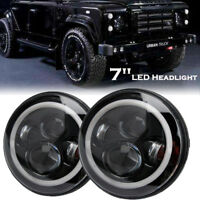 "PAIR 7"" LED  HALO ANGEL EYE HEADLIGHTS E MARKED  FOR LAND ROVER DEFENDER 110 90"
