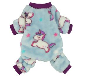 Fitwarm Unicorn Pet Clothes for Dog Pajamas Coat Cat PJS Jumpsuit Soft Velvet XS
