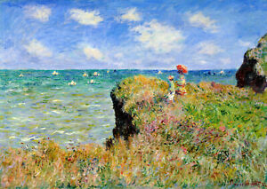 Vintage painting art claude monet artwork beach boats lady  poster canvas framed