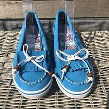 Vans Moccasin Boat Surf Shoe Loafers 5.5 Blue White Slip On