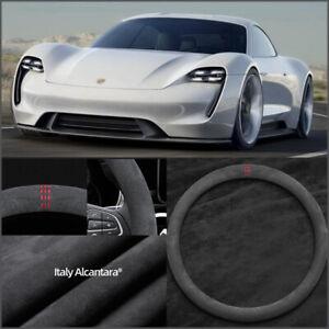38cm Non-slip Black Alcantara Suede Car Steering Wheel Cover For Porsche Taycan